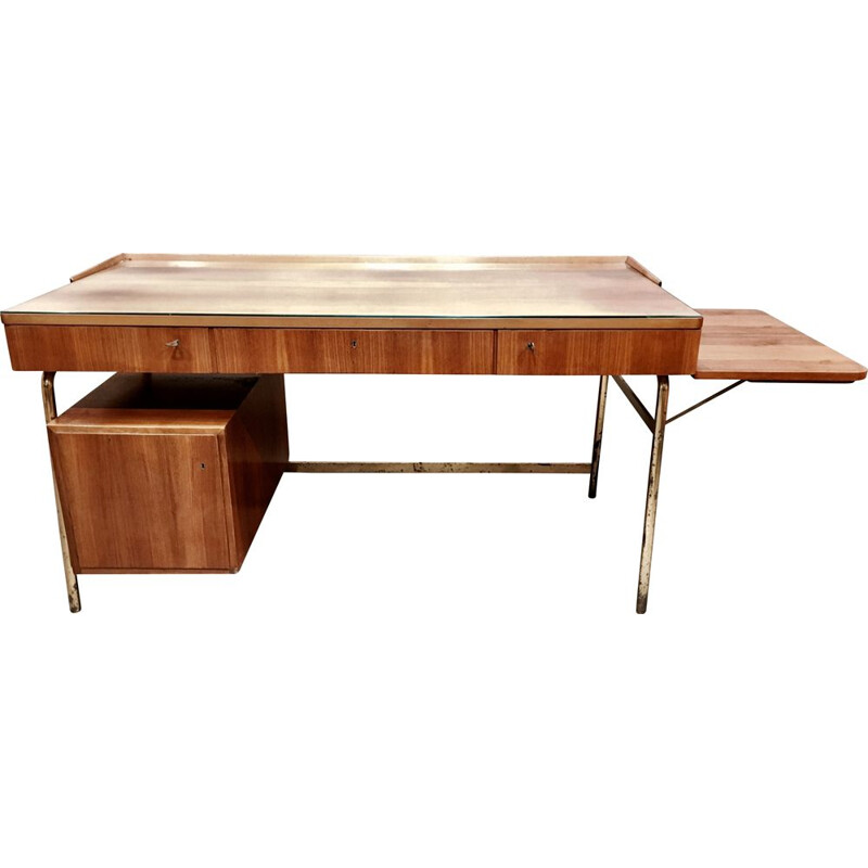 Vintage modular desk in rosewood and Scandinavian brass 1950's