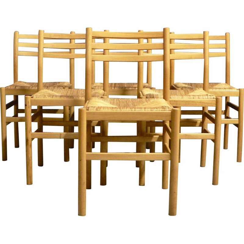 Suite of 6 vintage beech and straw chairs by Pierre Gautier Delaye 1950