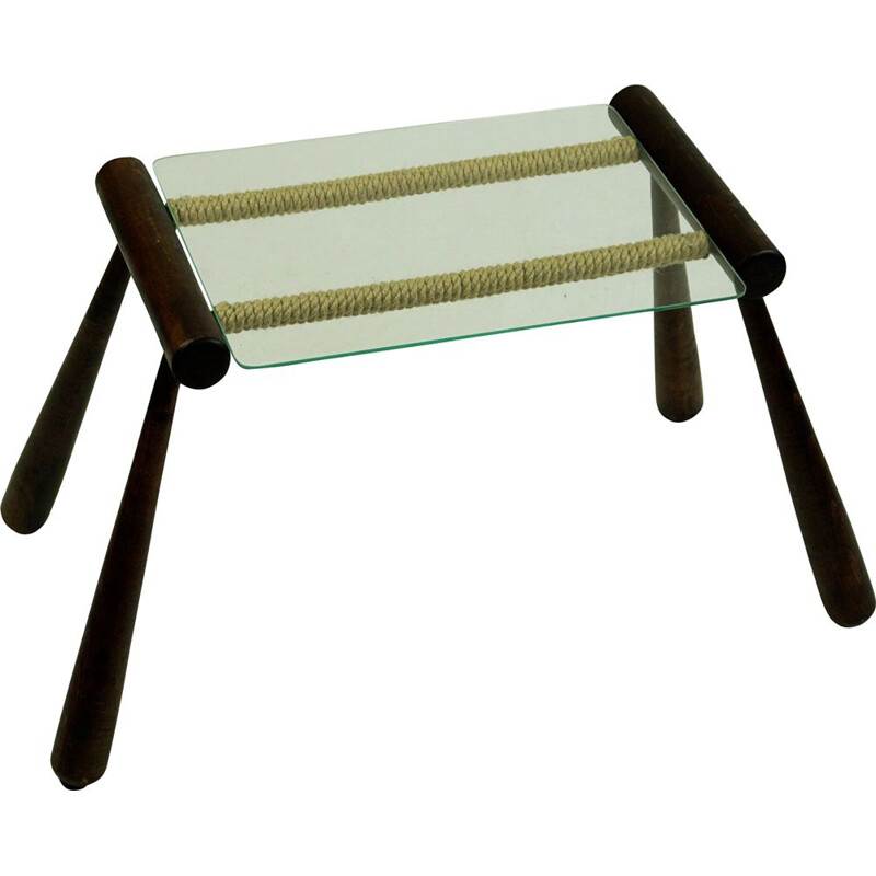 Midcentury Wood, Glass and Cord Side Table by Max Kment Austrian