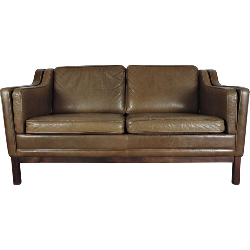 Mid century tan leather sofa Danish