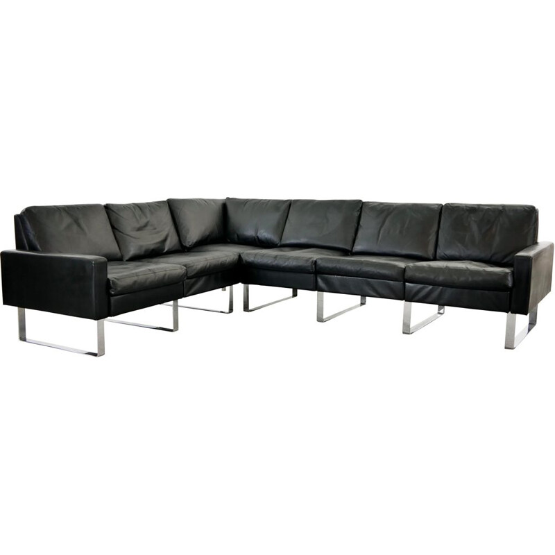 Vintage Sectional Modular Conseta Sofa on Runners by COR,  in Black Leather Germany 1963