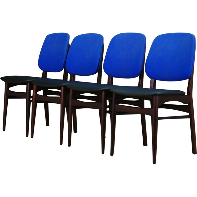Set of 4 vintage chairs with eco leather and mahogany wood 1970s