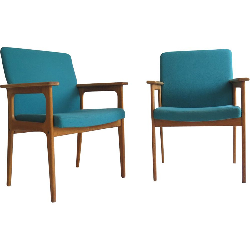 Pair of Vintage oak armchair, Denmark, 1970