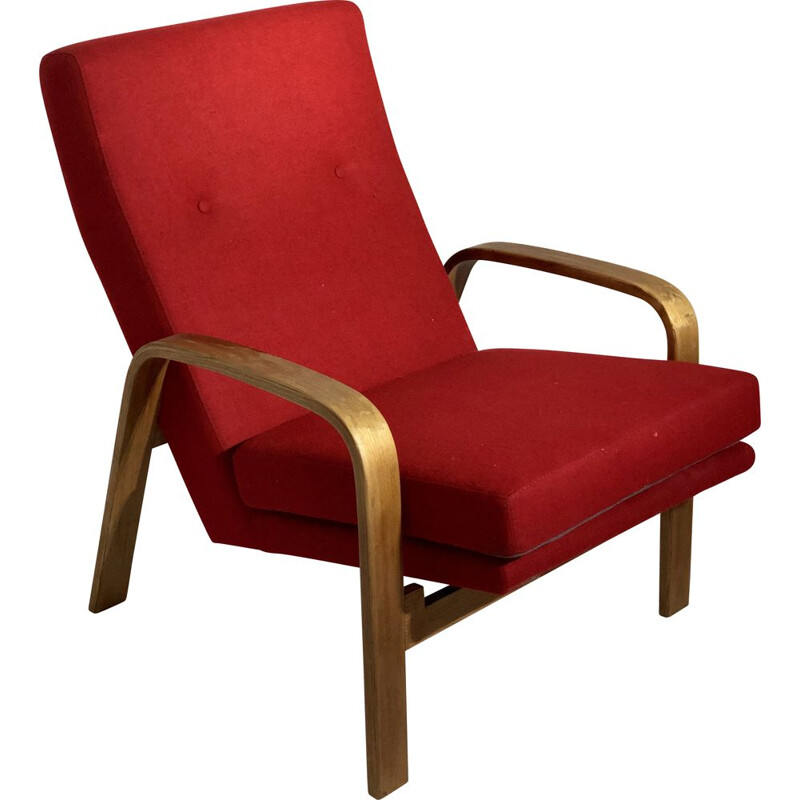 Vintage armchair in wood and ARP fabric
