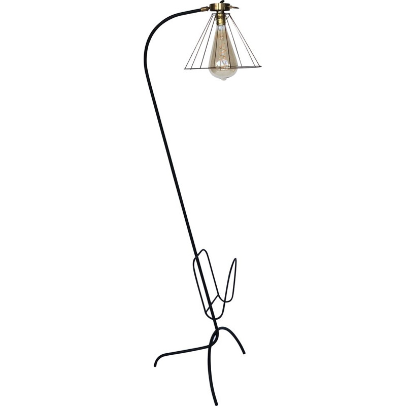 Vintage wrought iron and brass floor lamp with wrought iron and brass magazine holder, exposed bulb 1960