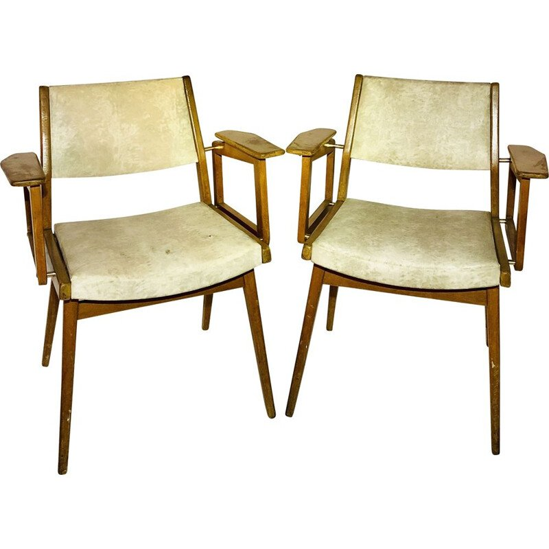 Pair of vintage armchairs in leatherette and wood Robert Debiève