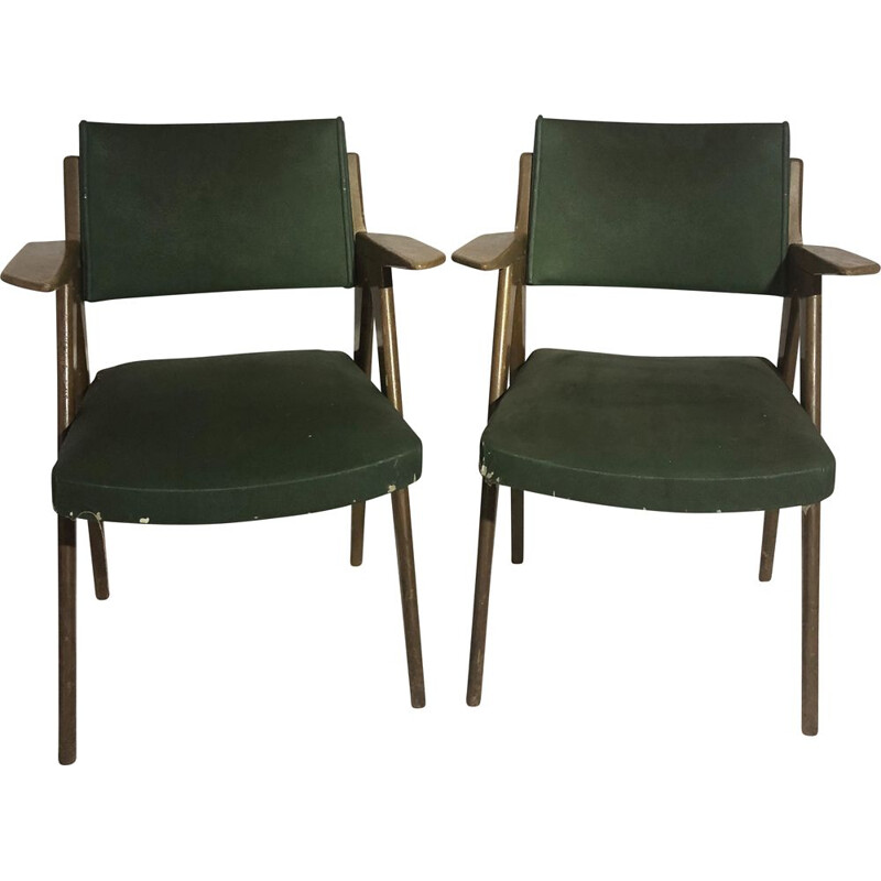 Pair of vintage armchairs in oak and skai 1950s