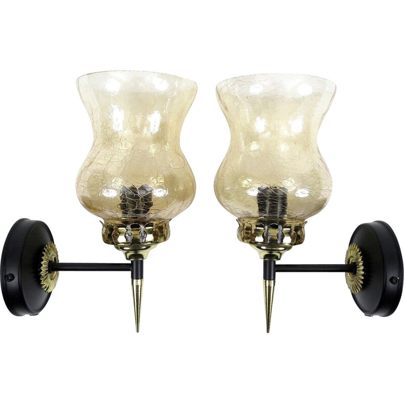 Pair of 1950's vintage French brass and cracked glass wall sconces