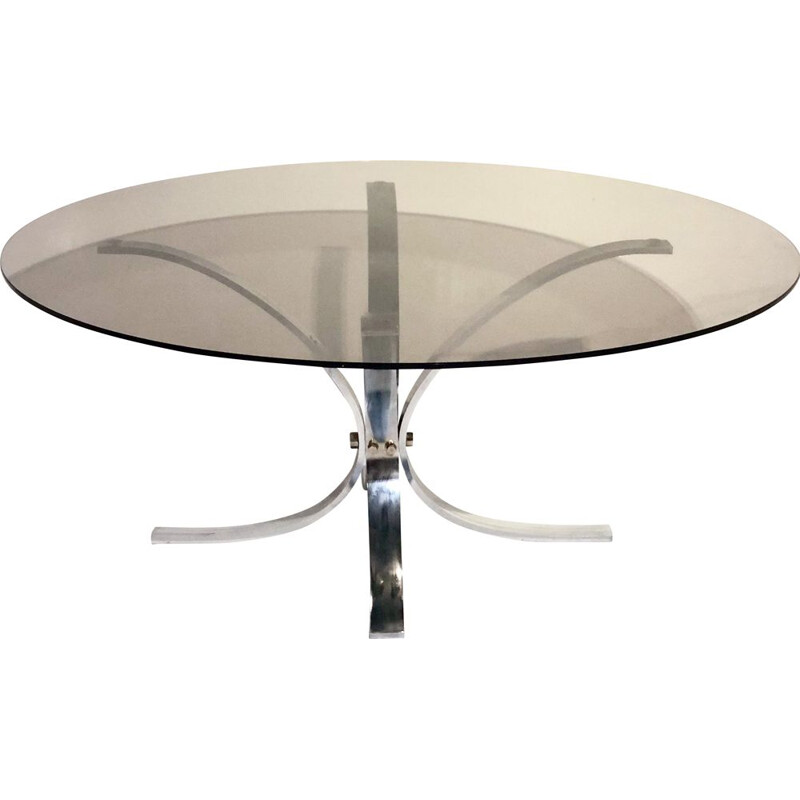Vintage coffee table glass and chrome 1970