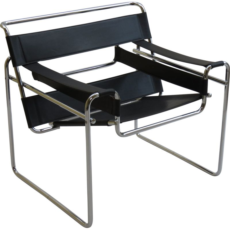Vintage Wassily B3 Black Leather Chair Marcel Breuer A 1980s
