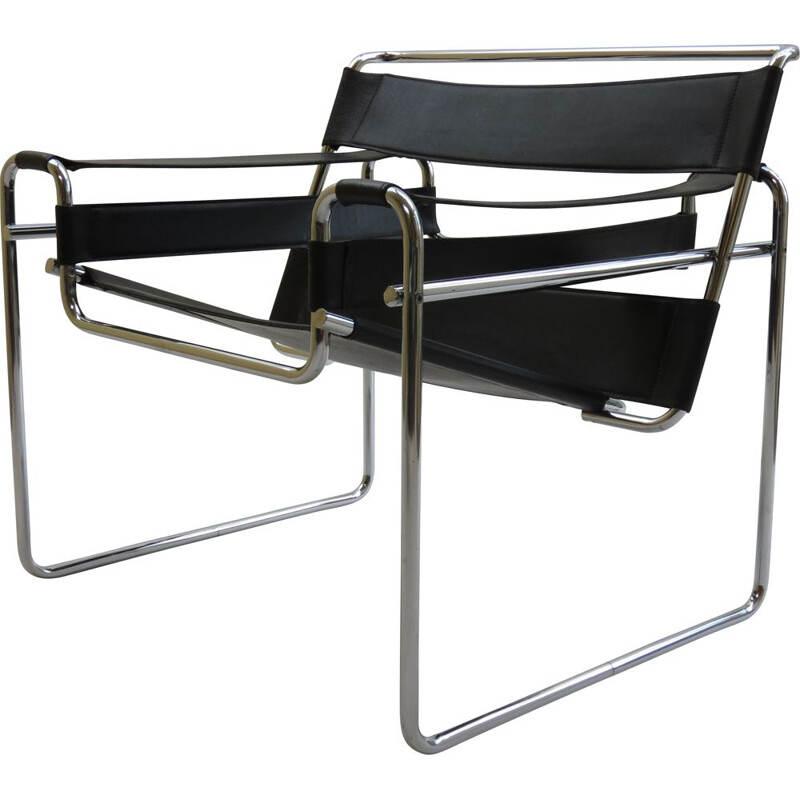 Vintage Wassily B3 Black Leather Chair Marcel Breuer B 1980s
