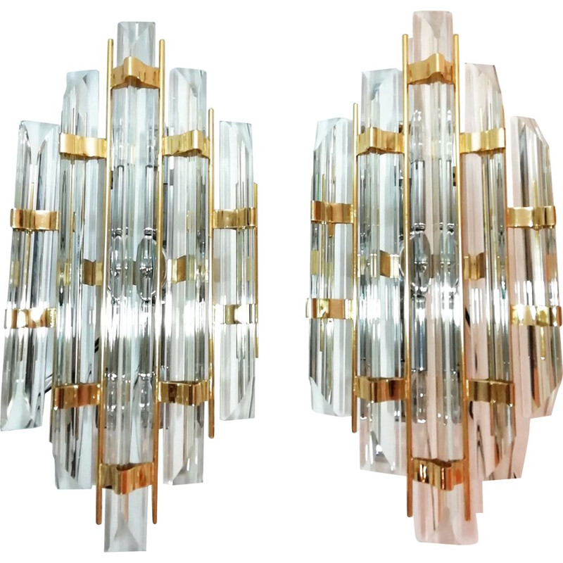 Pair of vintage cristal wall lights by Paolo Venini