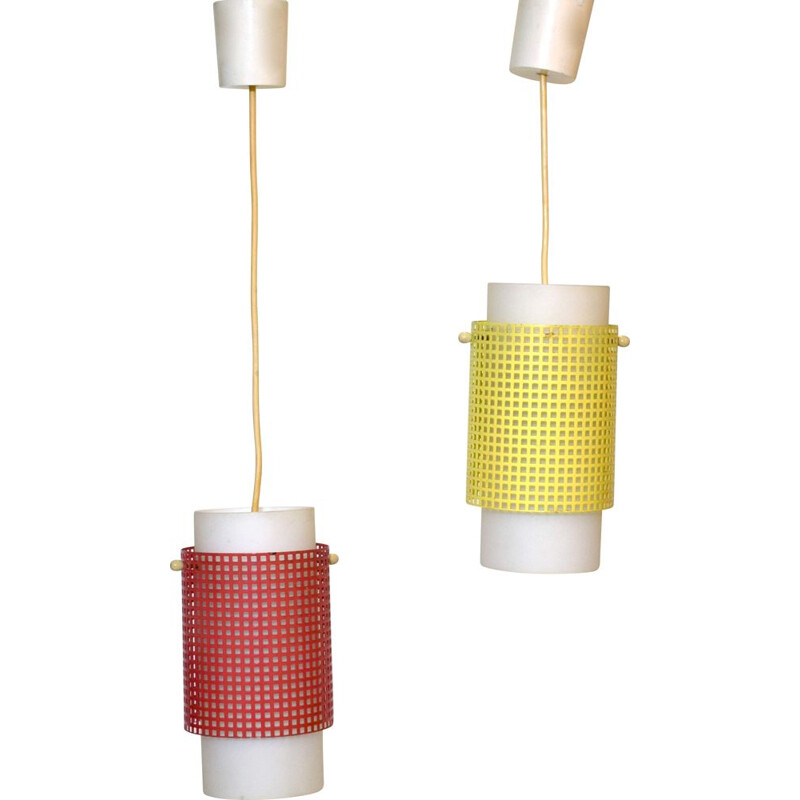 Pair of Vintage Suspension Hangers in red and yellow perforated metal 1950s