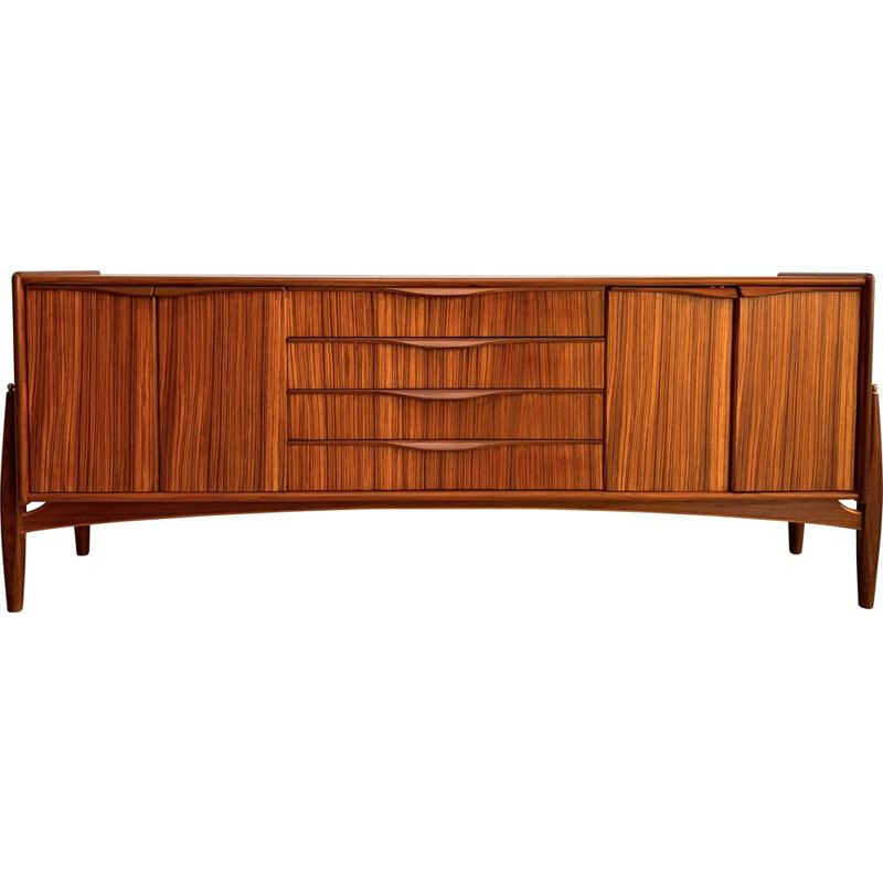 Vintage sideboard teak by Zebrano wood.