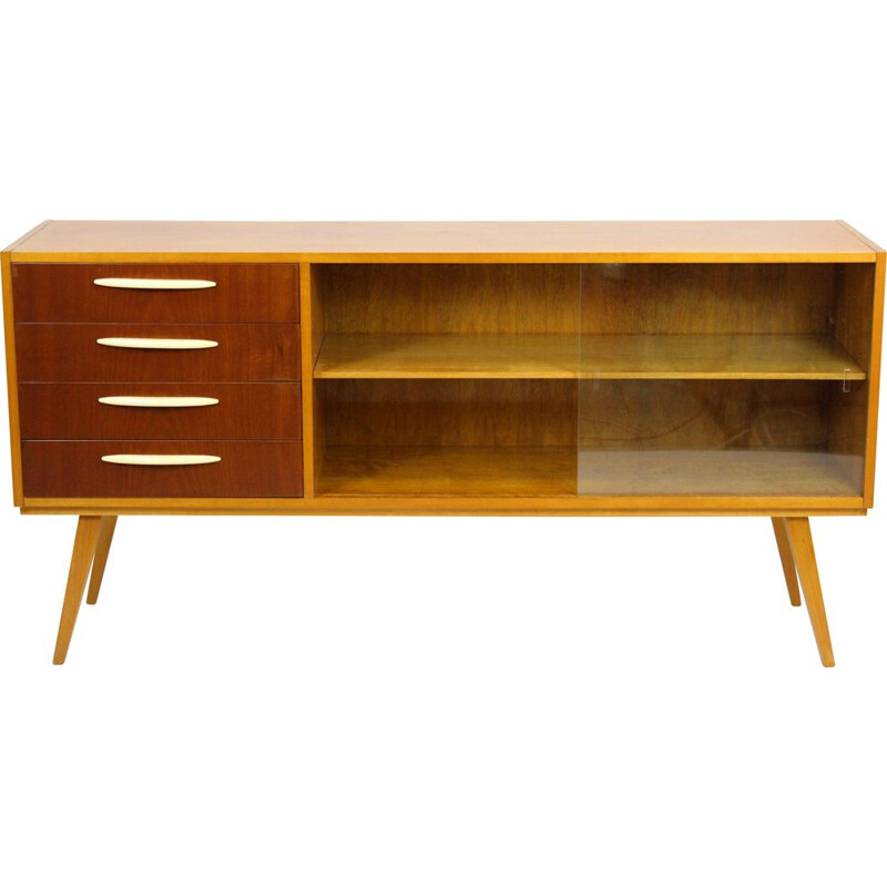 Mid-Century Birch and Mahogany Sideboard, Czechoslovakia 1960s