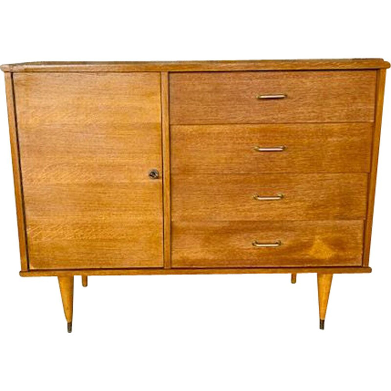 Vintage 4 drawers and 1 door chest 1960