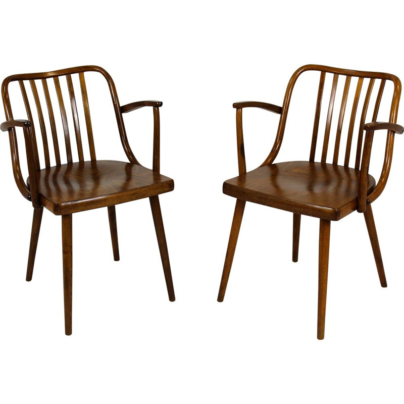 Pair of Vintage Wooden Armchairs by Antonin Suman for Ton Czech 1960s