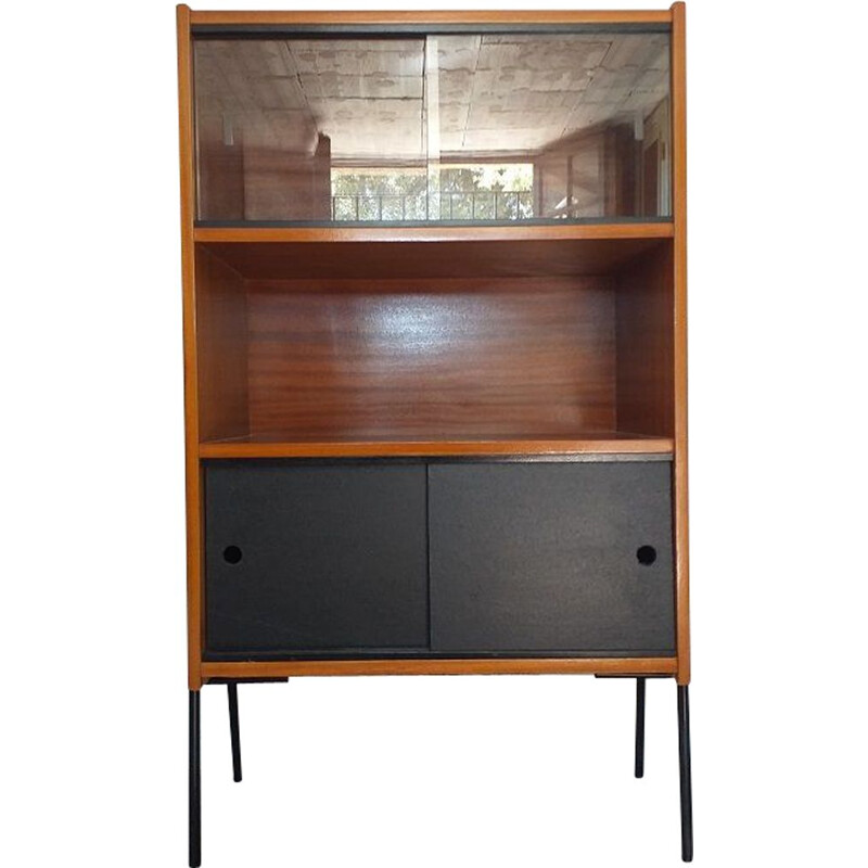 Vintage bookcase in mahogany on black lacquered metal base 1960