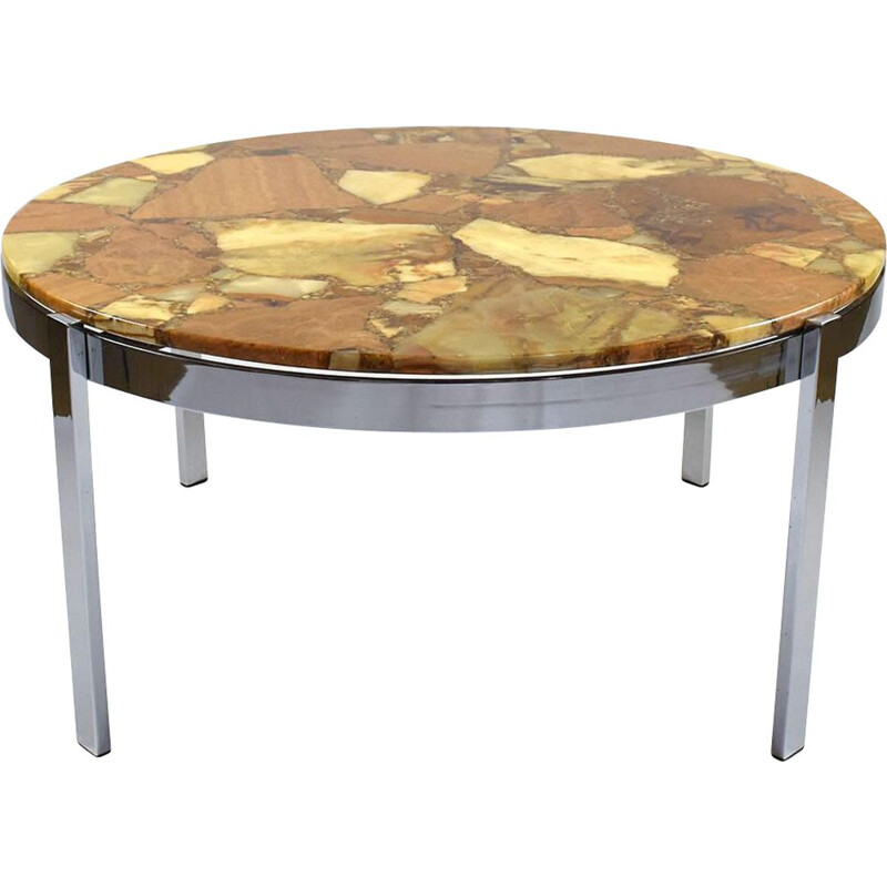 Vintage round Marble Coffee Table from 1960s