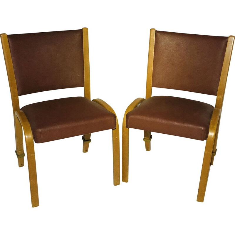 Pair of vintage chairs in skai and bow wood