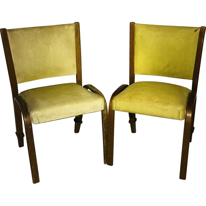 Pair of vintage Bow wood yellow leatherette chairs