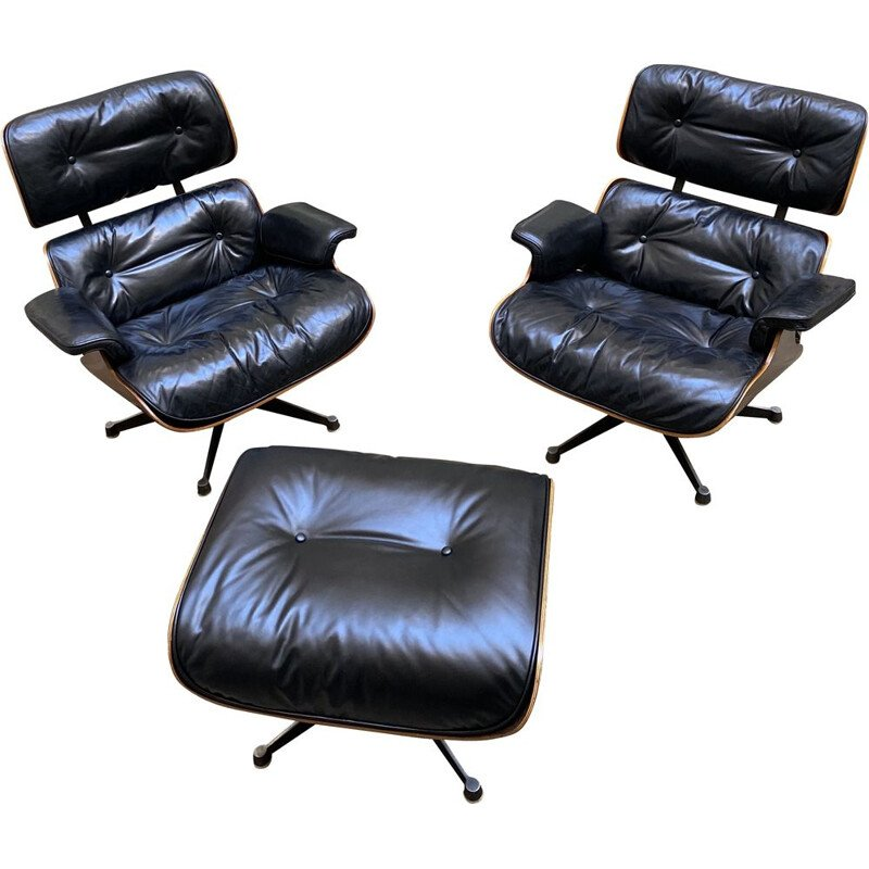 Pair of vintage lounge chairs and ottoman Charles and Ray EAMES