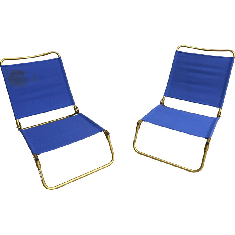 Pair of vintage folding armchairs of Beach Lafuma 1950