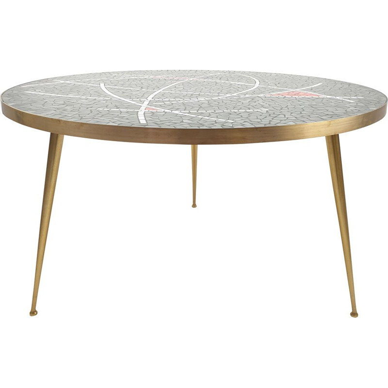 Large vintage Round Mosaic Coffee Table by Berthold Muller, 1950s