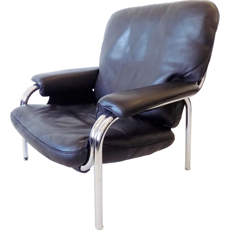 Vintage leather lounge chair De Sede Kangeroo by Hans Eichenberger Swiss 1970