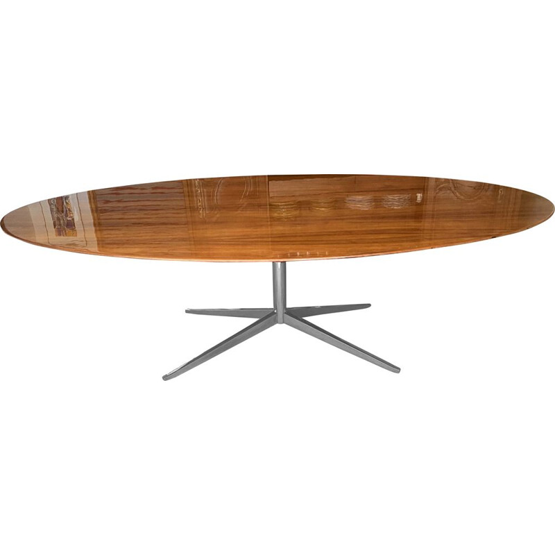 Vintage oval table Florence Knoll in American walnut 1960