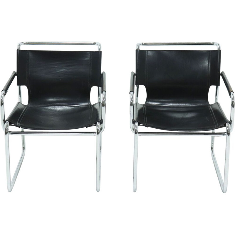 Pair of Mid Century Leather and Tubular Lounge Chairs 1960s