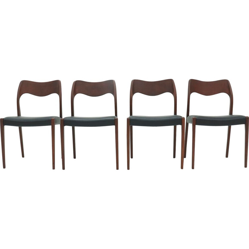 Set of 4 vintage Dining Chairs by Hovmand Olsen for Mogens Kold 1960s