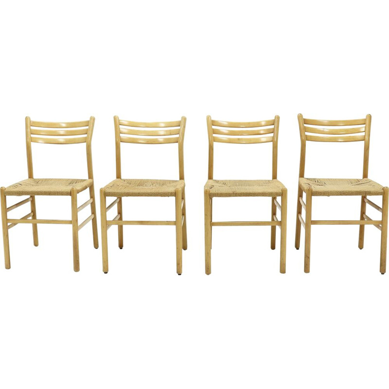 Set of 4 vintage Dining Chairs Rope and Beech  Italian 1960s