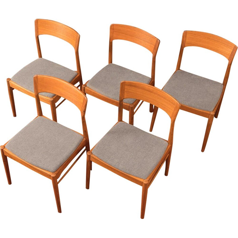 Set of 5 Vintage Chairs Solid teak fabric grey Denmark 1960