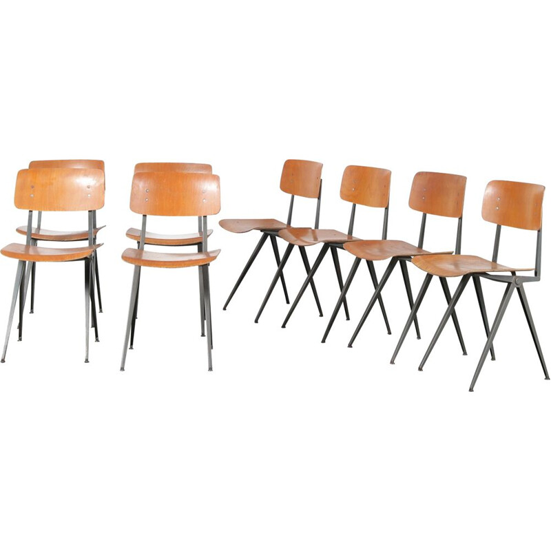 Set of 8 vintage industrial school chairs by Marko, Netherlands 1950s