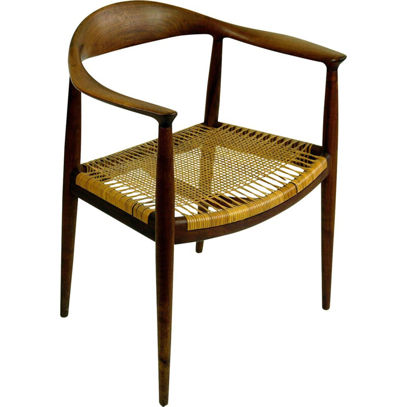 Vintage Armchair Mod. JH501Teak and Cane  by Hans Wegner for Johannes Hansen Scandinavian