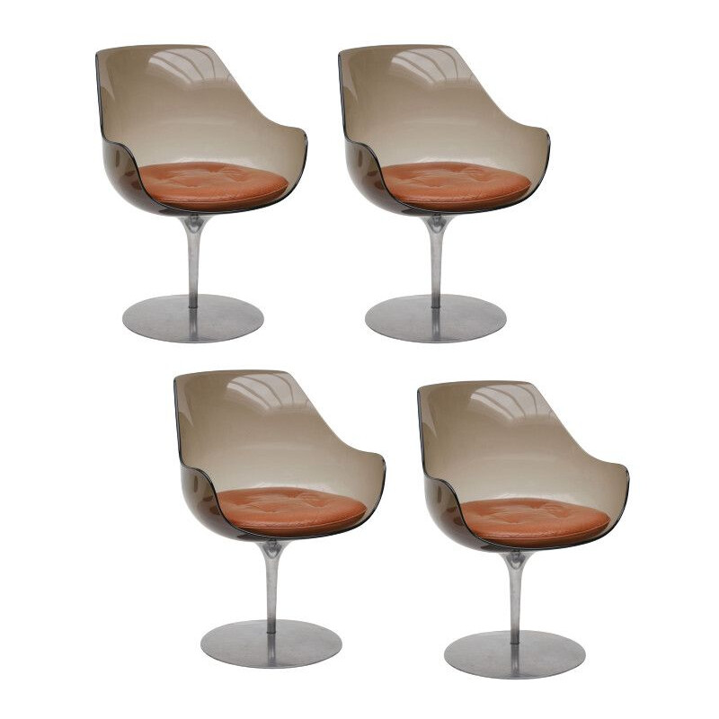 Set of 4 vintage Champagne chairs by Estelle and Erwine Laverne for Formes Nouvelles 1962