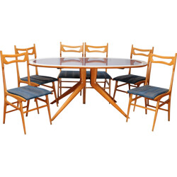 Italian dining set with 6 chairs - 1960s