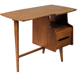Bema tripod desk in plywood, natural oak and massif oak, Jacques HAUVILLE - 1960s