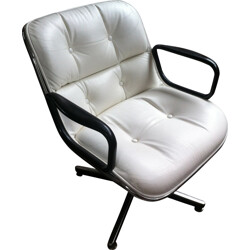Desk armchair in aluminum and white leather, Charles POLLOCK - 1960s