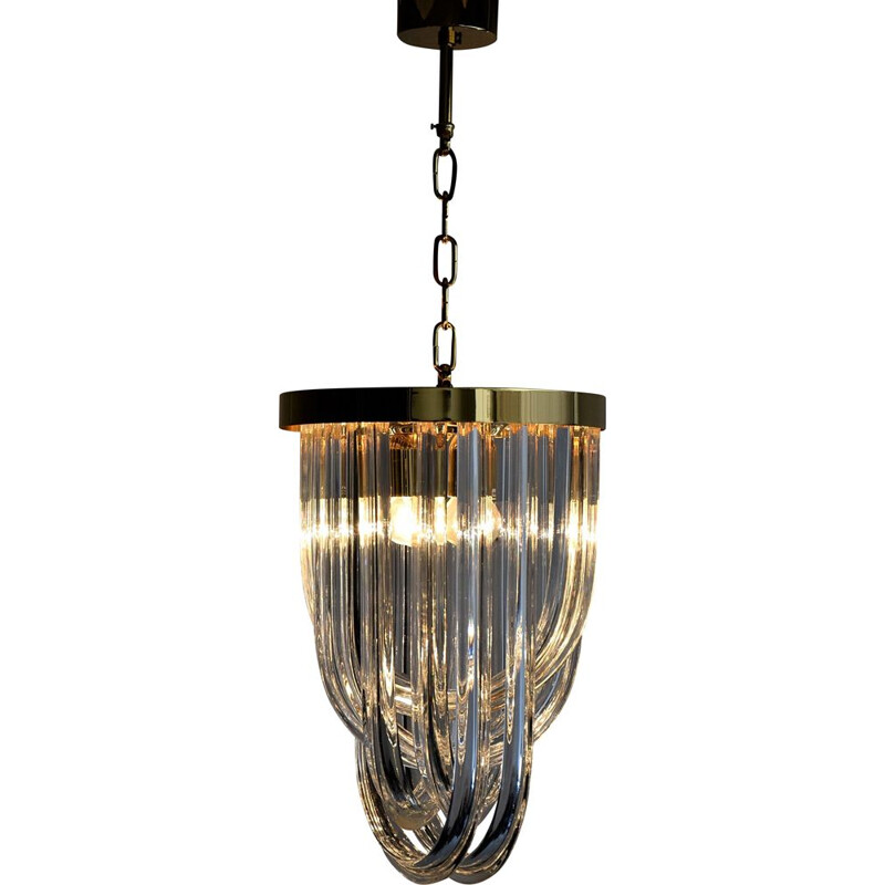 Vintage Venini Pendant Chandelier, Curved Crystal Glass and Gold Plated Brass, Italy