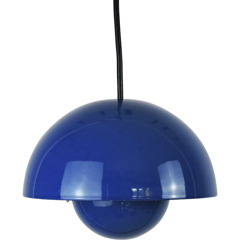 Vintage Blue Flowerpot Pendant Lamp by Verner Panton for Louis Poulsen, 1960s