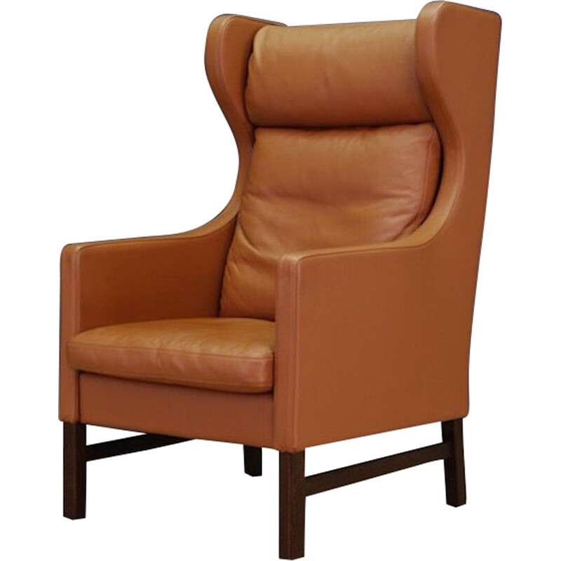 Vintage armchair for Skippers in brown leather danish 1970