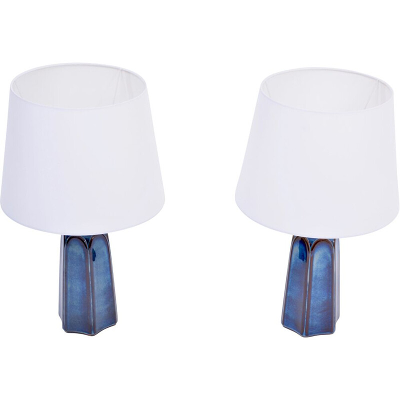 Pair of vintage tall blue Stoneware table lamps Model 1042 by Einar Johansen for Søholm