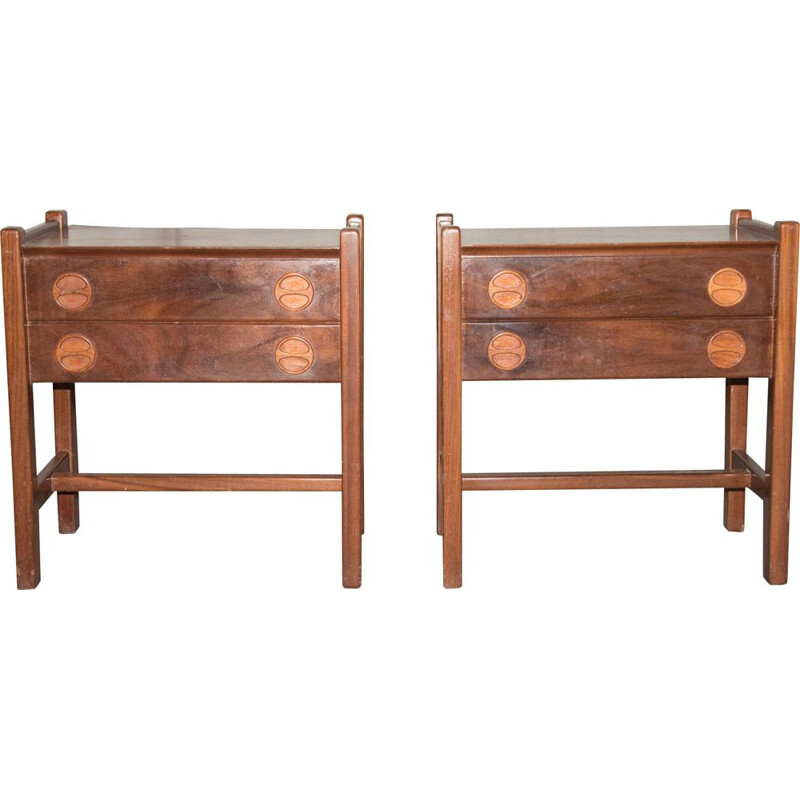 Pair of  vintage bedside tables Scandinavian 1960