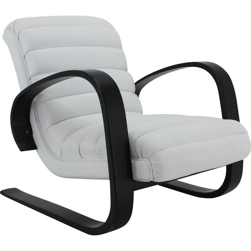 Vintage Lounge Chair in White Leather Miroslav Navratil 1930s