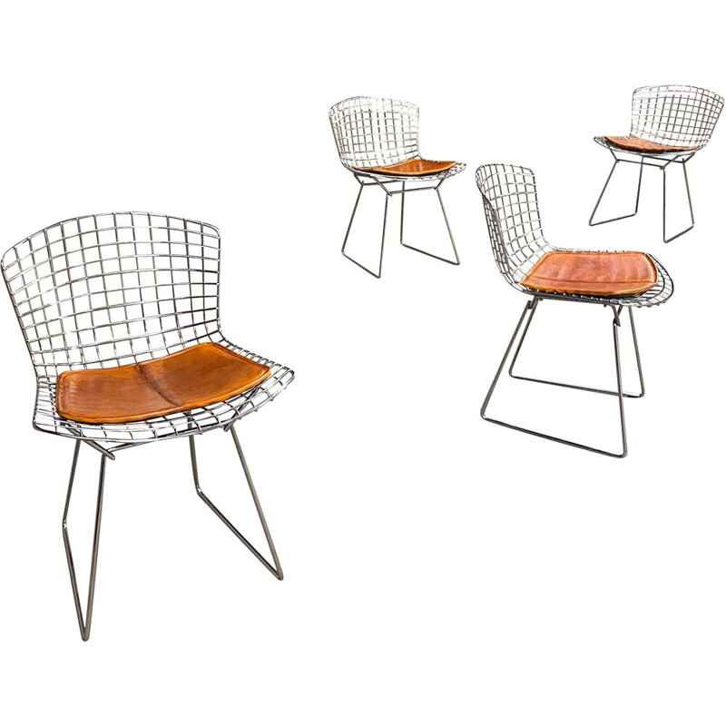 Set of 4 vintage Knoll chrome leather chairs Harry Bertoia