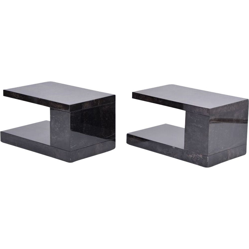Pair of vintage lacquered goat skin side tables by Aldo Tura 1970s