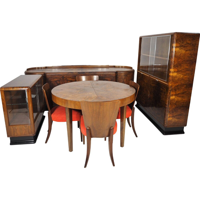 Set of 8 Vintage Walnut Veneered Room by Jindřich Halabala for UP Závody, Art Deco 1930s