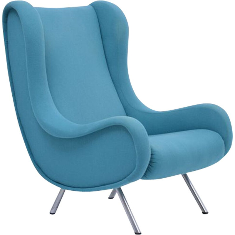 Mid-Century Lounge Chair Blue Modern Marco Zanuso Senior 1951